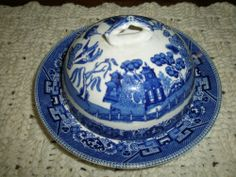 Antique Buffalo Pottery Blue Willow Butter Dish with Disk 1911