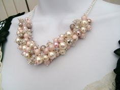 Set Of 6 - Blush Pink and Ivory Pearl Beaded Necklace with Rinestones, Bridesmaid Jewelry, Nude Colours, Cluster Necklace, Wedding Pale Pink on Etsy, $144.00