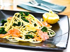 Adult – Linguine with Salmon & Spinach Recipe Salmon Spinach Recipes, Linguine, Smoked Salmon, Spaghetti, Pasta, Fresh, Ethnic Recipes, News, Food