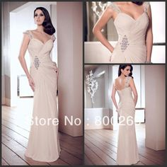 2013-2014 Mother Of The Bride Chiffon Dresses  Floor Length With Pleating And Beaded D100 $161.93