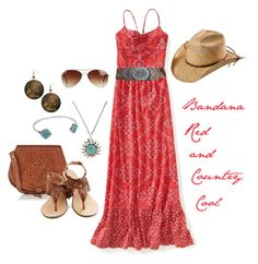 Bandana Red and Country Cool by dianaksmith on Polyvore featuring polyvore, fashion, style, Aéropostale, Warehouse, A'GACI, Lucky Brand, Rut&Circle, country and clothing