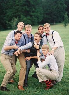 Groom's Men Styles. I really like how they have different colored shirts and suspenders with bowties