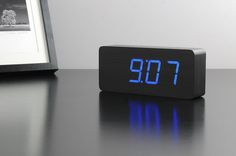 Slab Black Wood Alarm Clock by Gingko Led Alarm Clock, Tile Covers, Black Clocks, Blue Tiles, Large Clock, Digital Wall, Red Led, Black Wood, Cool Walls
