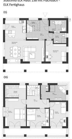 Floor plan Bauhaus City Villa modern with flat roof architecture - 5 rooms, 148 sqm . - Floor plan Bauhaus modern city villa with flat roof Architecture – 5 rooms, 148 sqm, ground floor - Cultural Architecture, Sacred Architecture, Roof Architecture, Bauhaus Style, Farmhouse Flooring, Prefabricated Houses, The Plan, How To Plan, Flat Roof