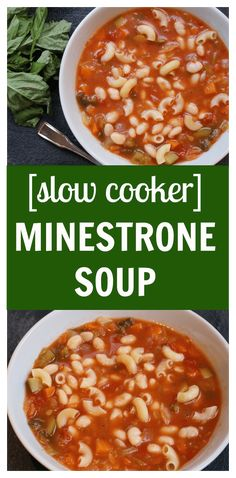 Toss fresh veggies, Italian seasonings and beans in the slow cooker to make one hearty and flavorful slow cooker minestrone soup! to Mom Nutrition- Katie Serbinski, MS, RD Best Slow Cooker, Slow Cooker Recipes, Crockpot Recipes, Soup Recipes, Healthy Recipes, Healthy Food, Delicious Recipes, Dinner Recipes, Cooking Recipes