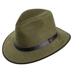 51c58ebe1d7 Buy the Jaxon   James Nubuck Leather Safari Fedora - Olive at Village Hats.  The destination for hats and caps online.