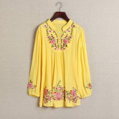 Wholesale Stand Collar Embroidered Flower Pattern Long Sleeve Blouse For Women (YELLOW,ONE SIZE), Blouses - Rosewholesale.com
