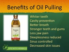 Do you suffer from gingivitis, pyria, yellow teeth, halitosis or bad breath? Stop using fluoride filled toothpaste instead start oil pulling, a gift from ancient Ayurveda!! #oilpulling #badbreath #pyria #gingivitis #halitosis #yellowteeth #teethwhitening #healthygums #herbal #ayurveda #natural #lifestyle #holistic http://www.lifewithherbals.com/oil-pulling/