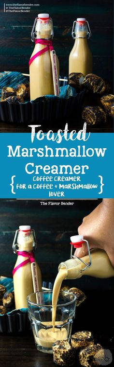 Homemade Toasted Marshmallow Creamer - A delicious, flavorful and EASY Toasted Marshmallow Coffee Creamer to flavor your morning coffees or even make cocktails! Makes an excellent gift to the coffee lover in your family! Plus it's Dairy Free Friendly too. Homemade Coffee Creamer, Coffee Creamer Recipe, Brownie Desserts, Oreo Dessert, Dessert Dips, Pavlova, Non Alcoholic Drinks, Beverages, Cold Drinks