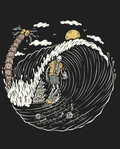Our surf artist spotlight on Kentaro Yoshida - an Australian Japanese artist producing amazingly fun surf characters. Surf Drawing, Surf Tattoo, Tatto Old, Skate Art, Skeleton Art, Surf Art, Australian Artists, Japanese Artists, French Artists