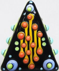 Happy Triangle FocalHandmade Lampwork Glass Bead by beadygirlbeads, $30.00