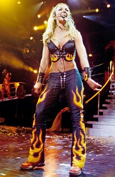 Britney on fire during the Oops!...I Did It Again tour in Dallas, Texas