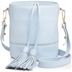 Milly Astor Drawstring Leather Bucket Bag ($300) ❤ liked on Polyvore featuring bags, handbags, shoulder bags, handbag purse, leather handbags, blue shoulder bag, leather man bags and leather shoulder handbags