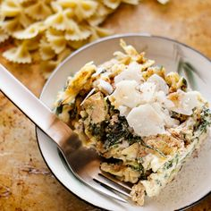 One Pan Chicken Spinach Bow-Tie Casserole