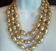 Joan Rivers Champagne gold 202 gr  Layered Baroque Glass  Pearl Necklace Unworn #Choker
