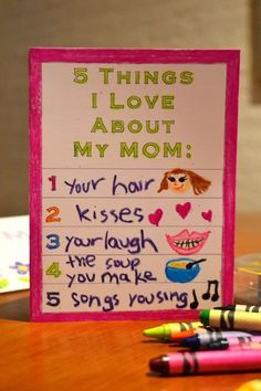 """Printable Mother's Day Card For Kids Things I Love About My Mom""""} Print & Personalize! Hey I saw you pinned DIY mother's day gift which inspired this – hope you like it :) Mothers Day Crafts For Kids, Mothers Day Cards, Mother Day Gifts, Fathers Day, Kids Crafts, Cute Mothers Day Ideas, Mother's Day Printables, Printable Cards, Mother's Day Projects"""