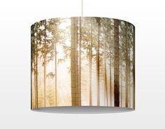 Pendelleuchte No.CA48 Morning #Forest - Lampe - Lampenschirm #Lampe #Hängelampe #mit #Motiv #Druck #Leuchte #Pendelleuchte #rund #bedruckt #xxl #Wald