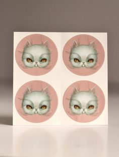 Crabby Cat Stickers Sheet - pop surrealism - 4 Persian White Mad Cat sticker sheet by Mab Graves