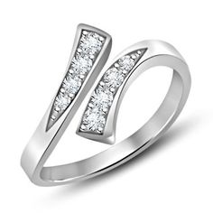 Simulated Diamond 925 Sterling Silver Bypass Adjustable Toe Ring Fashion Jewelry #parasexports