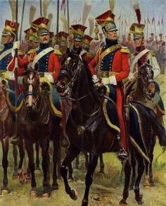 Red Lancers officer, trumpeter and troopers.