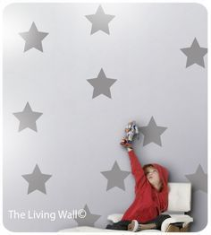 Big Stars Wall Stickers, Star Wall Decals, Nursery Wall Decals, Silver Star Decal Stickers