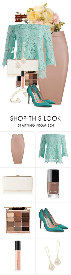 """wedding 2018"" by mfcastillo98 ❤ liked on Polyvore featuring Simply Irresistible, Chanel, Stila, Bare Escentuals, Kendra Scott, party, wedding, pastels, invite and plus size clothing"