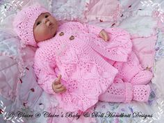 """Lacy Winter Pram Suit ~ dress your """"doll"""" in this super cute outfit ~ incl. only ~ experienced skill ~ Preemie thru 3 mos sizes ~ KNITTING Baby Knitting Patterns, Baby Cardigan Knitting Pattern, Knitting Designs, Baby Patterns, Hand Knitting, Baby Doll Clothes, Doll Clothes Patterns, Baby Dolls, Reborn Dolls"""