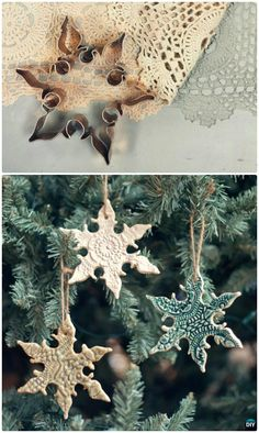 DIY Cookie Cutter Lace Snowflake Ornament Instruction #Crafts, #Christmas