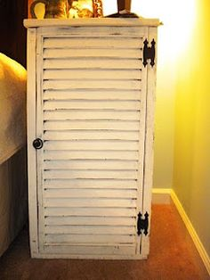 DIY Nightstand with an old shutter. Love!