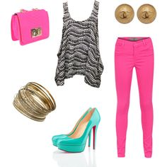 girly outfit, pink & turquoise.. a look i created on #polyvore