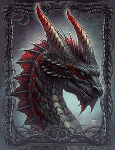 New Skin design by Kerem Beyit: Black Dragon Mythical Creatures Art, Fantasy Creatures, Dragon Tales, Dragon's Lair, Beautiful Dragon, Dragon Artwork, Dragon Tattoo Designs, Dragon Pictures, Dragon Eye