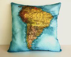 Map pillow, decorative pillow,  pillow cover SOUTH AMERICA,Organic cotton, 16x16 inch pillow, 40cm cushion