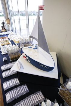 nautical decoration for baptisim | Nautical Theme Christening and Dessert Table - Le Petit