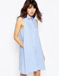 ASOS | ASOS Sleeveless Shirt Dress in Cotton at ASOS