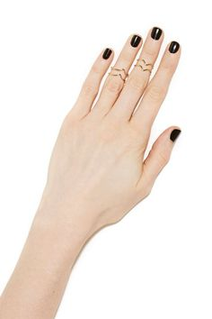 The coolest set of gold chevron midi rings featuring double tiered detailing and a slip on style.