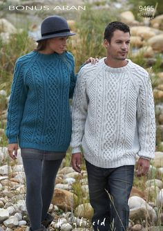 Ravelry: Unisex Cabled Sweaters 9465 pattern by Hayfield