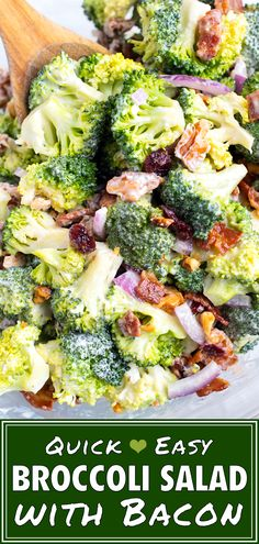 This Easy Broccoli Salad recipe is loaded with crispy bacon, sweet cranberries, walnuts and tossed in a delightful mayonnaise-yogurt dressing. Cold Side Dishes, Picnic Side Dishes, Low Carb Side Dishes, Healthy Side Dishes, Dinner Dishes, Side Dishes Easy, Side Dish Recipes, Burger Side Dishes, Chef Recipes