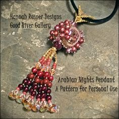 RECENTLY UPDATED!  Bead Tutorial Arabian Nights peyote stitch Pendant Seed Bead pattern instructions by Hannah Rosner