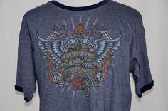 Armpit to Armpit - Length - Las Vegas Nevada, Mens Xl, Harley Davidson, Graphic Tees, Mens Tops, Wings, Cotton, Blue, Fashion