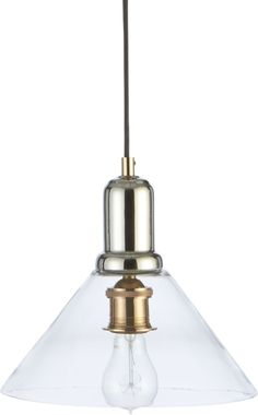 """Simplicity and the on-trend allure of mixed metals shines in this small-scaled pendant lamp.  Clear angled blown glass shade showcases the mix of shiny copper and nickel accents.  Due to its handcrafted nature, the shade on each pendant will vary slightly in shape and thickness. Glass with polished copper and nickel accents5""""-dia."""