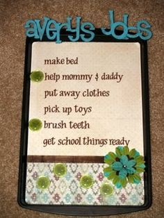 cookie sheet chore chart