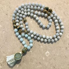 Aquamarine mala necklace - courage by thetiltedmoon on Etsy Good For Sore Throat, Silk Thread, Blue Beads, Necklace Lengths, Pouch, Beaded Bracelets, Gemstones, Trending Outfits, Unique Jewelry