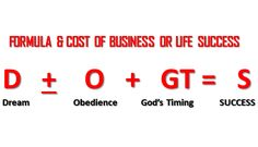 The Cost of Business Is also The Success Formula, Learn what it is!
