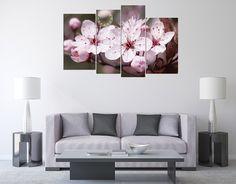 Tranh trang trí nội thất phòng khách hoa đào mùa Xuân