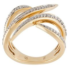 Gisele For Eshvi diamond encrusted 18kt gold ring (€3.795) ❤ liked on Polyvore featuring jewelry, rings, metallic, metallic jewelry, diamond jewellery, yellow gold diamond rings, diamond rings and yellow gold jewelry