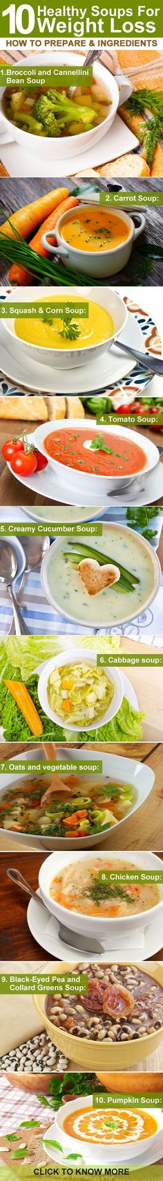 (healthbeckon.com) Soups, especially low calorie vegetable soups are best options for weight loss. Learn the healthy recipes of soups for weight loss given for you.