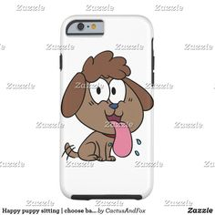 Happy puppy sitting | choose background color Case-Mate iPhone case