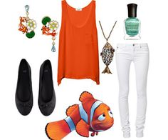 As I've said before, Finding Nemo is my all-time favorite Disney/Pixar movie. So, obviously, I jumped at the chance to create a set of looks based on 10 of the best, most colorful characters in the movie. The only sad part was that I couldn't include everyone (I'm sorry, Crush! You're still one of my faves!). Dressing like a bunch of cartoon fish is way easier than you would think it would be. All of