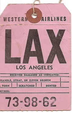 Vintage Airline Baggage Tag for LAX. In 1986 Western Airlines was purchased by Delta Air Lines, and was fully merged into that airline on 1 April