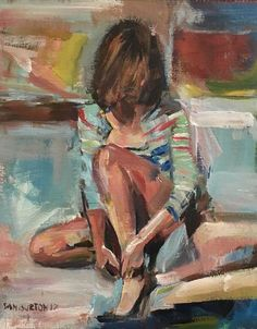 Buy Woman adjusting her shoe, Acrylic painting by Samuel Burton on Artfinder. Discover thousands of other original paintings, prints, sculptures and photography from independent artists.